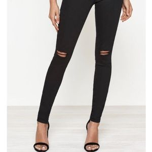 Black Highrise Ripped Jeans, Sizs 25 Skinny Ankle